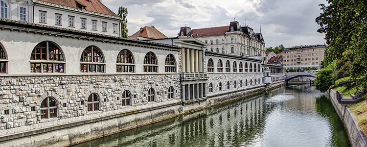 de_0002_slovenia - Central Market in Ljubljana overlooking the canal, Slovenia